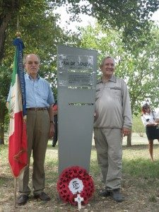 Ian de Souza, right, at the memorial to his father, Ken