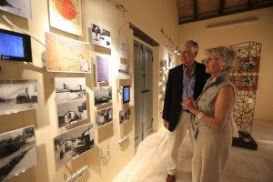 Helen and Nick Young (MSMT chairman) admire photos at the Casa della Memoria, Servigliano