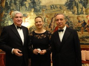 MSMT Trustee Ian Laing, left, with Signora Terracciano and Ambassador Terracciano
