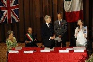 From left: Anita Krol, Valeriano Ghezzi, mayor of Monte San Martino, Ambassador Christopher Prentice, Antonio Millozzi and Letitia Blake