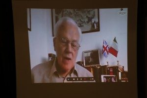 Keith Killby, the MSMT's founder, seen in his London home by video link at the ceremony