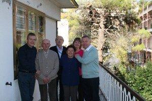 The Swingler family meet the Antognozzis in Montelparo: from left, Peter, Gino, Alfredo, Annunziata, Sheila and Colin